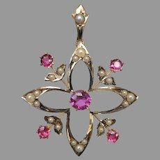 Antique Victorian 9k Gold Australian Pink Doublet & Seed Pearl Quartrefoil Pendant