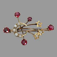 Antique Edwardian 9ct Gold Australian Southern Cross Gemstone Brooch