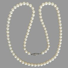 """Vintage Mid Century Lustrous Cultured Akoya Pearl Necklace, 21"""" inch"""