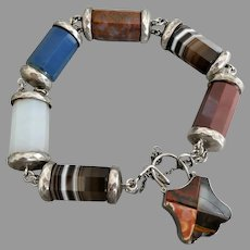 Antique Victorian Chunky Scottish Sterling Silver Agate & Jasper Pebble Bracelet