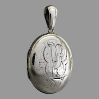 Antique Victorian Sterling Silver Monogram 'MP' Locket Pendant