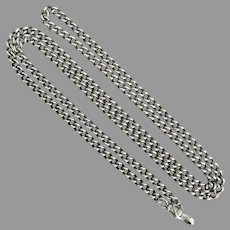 Antique Sterling Silver Long Solid & Smooth Curb Chain, 29""