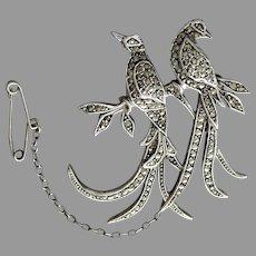 Vintage 1950's Australian Lega Sterling Silver Marcasite 'Bird of Paradise' Brooch