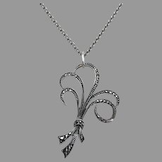 Upcycled Vintage Retro 935 Silver Marcasite Bouquet Pendant Necklace