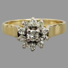 Vintage 18k Gold Diamond Cluster Ring