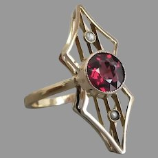 Antique Edwardian Rhodolite Garnet and Seed Pearl Conversion Ring