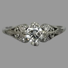 Vintage Art Deco 18ct White Gold 0.36tcw Diamond Engagement Ring