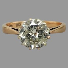 Art Deco 15ct Gold Early Brilliant Cut 2.01ct Diamond Solitaire Ring