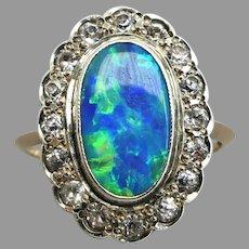 Vintage Art Deco c1933 Black Opal Doublet & White Sapphire Cluster Ring