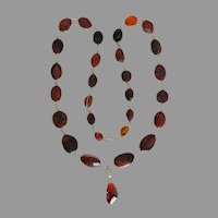 Vintage Amber Necklace with Fossil Insects & 14k Gold Poland Pendant
