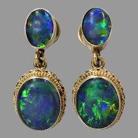 Vintage 9ct Gold Opal Triplet Dangle Earrings