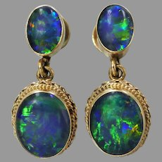 Vintage 9ct Gold Opal Triplet Dangle Earrings