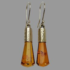 Upcycled Amber Dangle Earrings with 18k Gold Victorian Engraved Caps