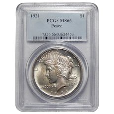 1921 Pcsg MS66 High Relief, Peace Dollar