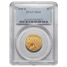 1909-D Pcgs MS63 $5 Indian Gold
