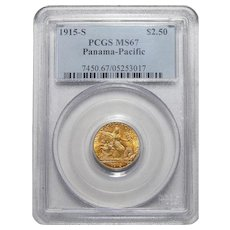 1915-S Pcgs MS67 $2.50 Panama-Pacific Gold