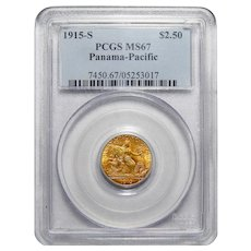 1915-S Pcgs MS67 $2.50 Panama-Pacific Gold