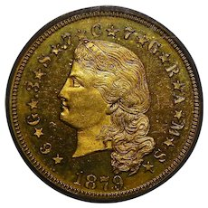 1879 Pcgs PR65DCAM $4 Flowing Hair Stella Gold