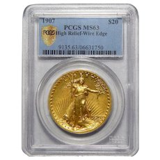 1907 Pcgs MS63 $20 High Relief-Wire Edge St. Gaudens