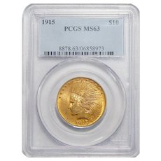 1915 Pcgs MS63 $10 Indian Gold