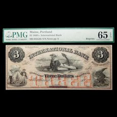 1860's PMG 65 EPQ $3 Maine, Portland Obsolete Banknote