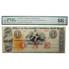 18__ PMG 66 EPQ $1 South Carolina, Charleston Obsolete Banknote