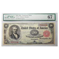 1891 Pmg Superb Gem Uncirculated 67 $20 Treasury Note FR#375 ~ Great Embossing