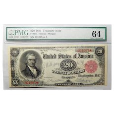 1891 Pmg Choice Uncirculated 64 $20 Treasury Note FR#375