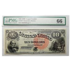 1880 Pmg Gem Uncirculated 66 $10 Legal Tender FR#107