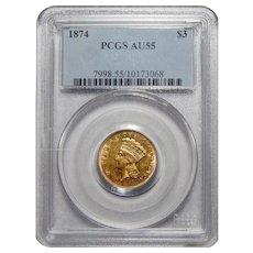 1874 Pcgs AU55 $3 Gold