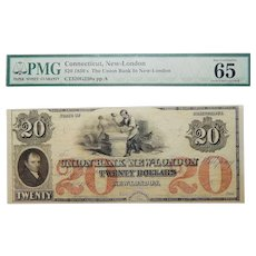 1850's PMG 65 $20 Connecticut, New-London Obsolete Banknote