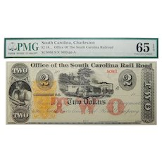 18__  PMG 65 EPQ $2 South Carolina, Charleston Obsolete Banknote