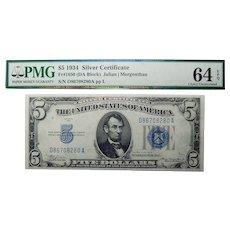 1934 PMG 64 EPQ (DA Block) Fr. 1650 $5 Silver Certificate
