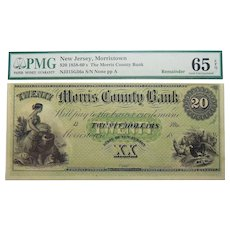 1858-60's PMG 65 EPQ $20 New Jersey, Morristown Obsolete Banknote