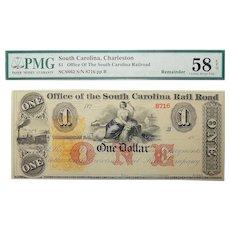 18__  PMG 58 EPQ $1 South Carolina, Charleston Obsolete Banknote