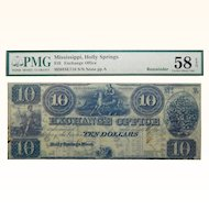18__ PMG 58 EPQ $10 Mississippi, Holly Springs Obsolete Banknote