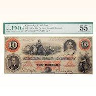 1860's PMG 55 $10 Kentucky, Frankfurt Obsolete Banknote