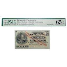 PMG 65 EPQ 5 Cent Wisconsin, Menomonie Obsolete Bank Note