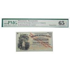PMG 65 EPQ 50 Cent Wisconsin, Menomonie Obsolete Bank Note