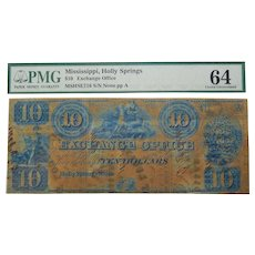 18__ PMG 64 $10 Mississippi, Holly Springs Obsolete Banknote