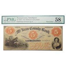 1850's PMG 58 $5 Pennsylvania, Smethport Obsolete Banknote