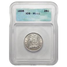 1835 Icg MS61 Capped Bust Quarter