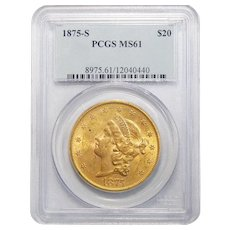 1875-S Pcgs MS61 $20 Liberty Head Gold