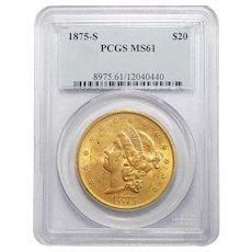 1875-S Pcgs MS61 $20 Liberty Head Gold