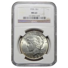 1935 Ngc MS63 Peace Dollar