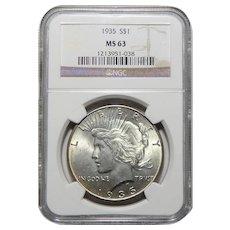 1935 Ngc MS63 Peace Dollar
