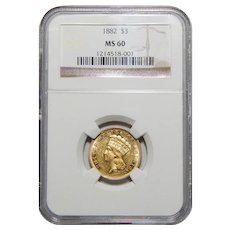 1882 Ngc MS60 $3 Gold