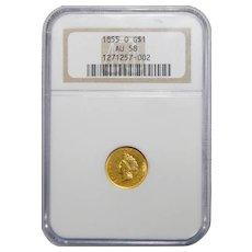 1855-O Ngc AU58 One Dollar Gold