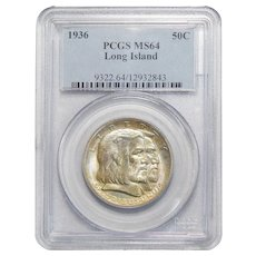 1936 Pcgs MS64 Long Island Half Dollar