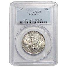 1937 Pcgs MS65 Roanoke Half Dollar